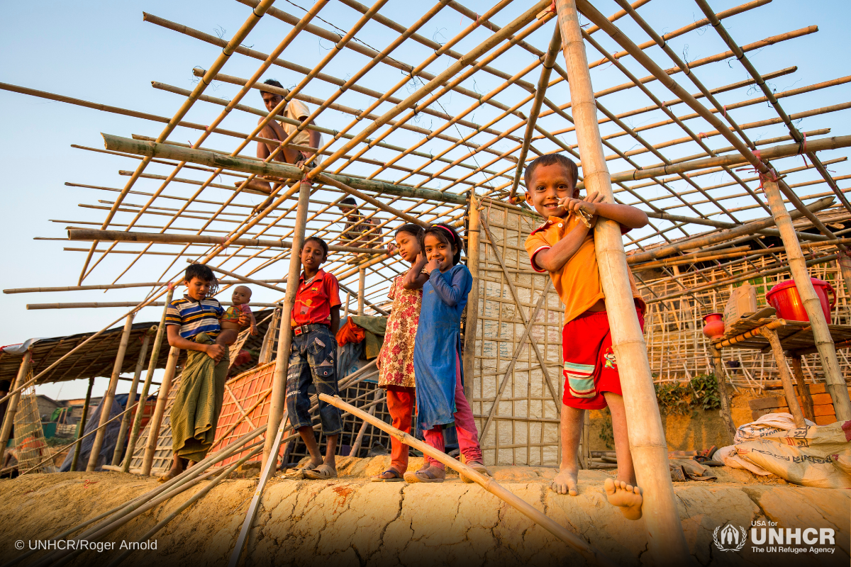 Rohingya refugees prepare for the monsoon by building new reinforced shelters with materials supplied by UNHCR.